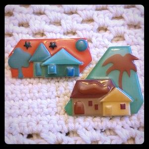 Jewelry - Island House Pins by Lucinda